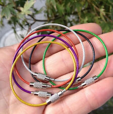 Fashion 5PCS Stainless Steel Wire Keychain Cable Key Rings For Outdoor Hiking