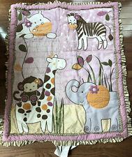 CoCaLo Baby Jacana Jungle Monkey Quilt Zebra Giraffe Purple Comforter EUC