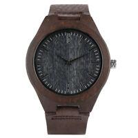 Fashion Bamboo Nature Wood Genuine Leather Band Men Women Analog Wrist Watch