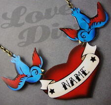 Customised Red Heart Tattoo With Swallows Kitsch Necklace Rockabilly
