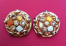 Boucles d'oreilles KALINGER Paris - CLIPS-  Earrings signed. Natural patina 1980