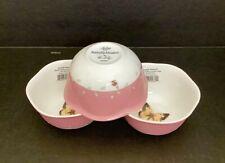 3 LENOX BUTTERFLY MEADOW ORANGE SULPHUR PINK WHITE DESSERT FRUIT BOWLS LADYBUG
