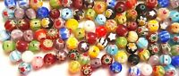 6mm Millefiori Glass Round Beads Flower Design Mixed Colours