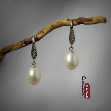 Boucles d'Oreilles Nacre Perle Culture Goutte Blanc Argent Massif 925 8mm-9mm B