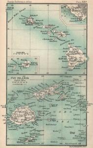 Hawaii & the Fiji Islands. Kauai. Honolulu. BARTHOLOMEW 1904 old antique map