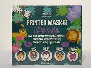Gift Set - SKIN TREATS 5 Super-Soothing Animal-Printed Face Masks - Vegan!