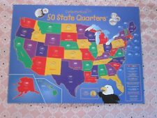 KIDS US State quarters collector map coin holder history & trivia bright colors