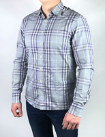 Authentic BURBERRY LONDON men's gray cotton checkered nova check shirt | Size M