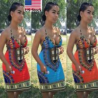 Summer Women Backless African Dashiki Bodycon Package Hip Mini Dress Hotsale US