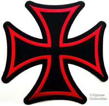 "IRON CROSS PATCH - Embroidered Maltese Gothic LARGE 10"" IRON-ON BIKER CHOPPER"