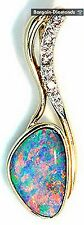 harlequin black opal + diamonds 14K gold pendant floral Australian rare opala