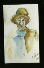 Listed Artist = C PETERSON = ACEO ART watercolor PAINTING = Old man in Hat