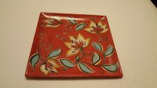 """Southern Living at Home Gail Pittman red floral square decorative plate 13""""x13"""""""