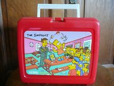 THE SIMPSONS - Vintage 1990 RED PLASTIC LUNCHBOX & BOTTLE - GROENING THERMOS VG