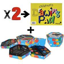 Childrens 52 Pcs Craft Art Artists Colouring Drawing Set Hexagonal Box Crayons