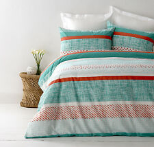 New In 2 Linen Saxon Teal Green King Size Quilt / Doona Cover Set Orange Stripes