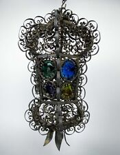 More details for 19th century wrought iron venetian lantern with stained glass roundels.