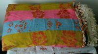 Vintage Bates Preshrunk Double Size Bedspread w/Fringe W Bright Colors Floral