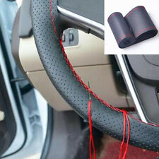 "38cm 15"" Car DIY Leather Steering Wheel Cover protect Car Needles and Red Thread"
