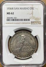 1936 San Marino 20 Lire NGC MS62 Rare