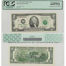 2003 $2 Federal Reserve Note Pcgs 64Ppq Fw Error Stuck Digit Jefferson Bill Mn