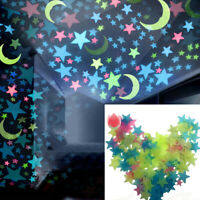 DIY 100Pcs Star Moon Glow In The Dark Plastic Stickers Ceiling Wall Bedroom