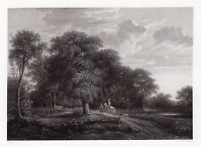"""Appealing Antonie Waterloo 1800s Engraving """"The Wooded Path"""" FRAMED Signed COA"""