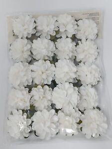 20 Mini Wired  Artificial White Flower Heads 3.4cm Wedding Bride Card Craft