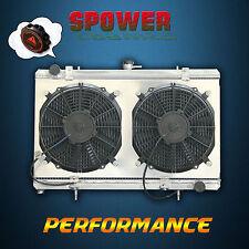 For NISSAN S13 SILVIA 180SX SR20DET 1989-1994 Aluminum Radiator +Fan Shroud +Cap