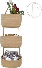 Js Home Jute Over Door Hanging Basket, 3 Wall Mount Hanging Organizer, Magazine