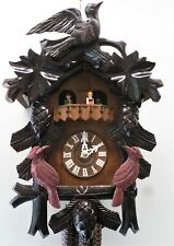 Rare Black Forest Large Dancing 3 Birds 2 Tune Swiss Music Dancers Cuckoo Clock!