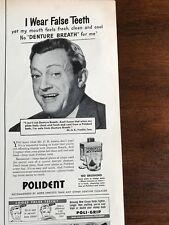 1951 VINTAGE 5.5X14 PRINT Ad FOR POLIDENT  MR. G.B. I WEAR FALSE TEETH, DENTURES