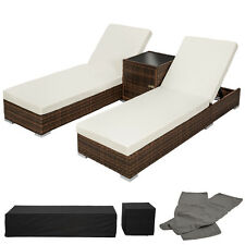 2x Chaise longue bain de soleil + table ALU poly rotin transat de jardin marron