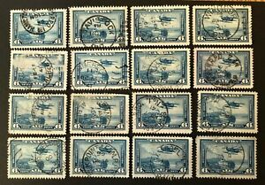 CANADA 1938  # C6 - 6 cent BLUE - AIR MAIL - 16 USED CDS CANCELS