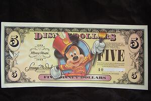 2008 DISNEY MICKEY MOUSE FIVE DOLLAR DISNEY BILL  - SERIES  A 00 129129