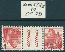 SWITZERLAND - 1936 Landscapes 20c 'RED' TETE BECHE Pair Zumstein S21z FU [7505]*