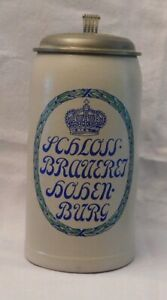 Bierkrug 1 Liter mit Zinndeckel SCHLOSSBRAUEREI HOHENBURG bei Lenggries Bayern