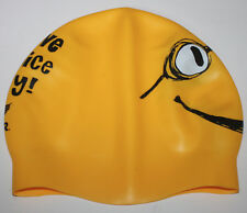 TYR Mens Womens Youth Swim Cap Yellow Black Silicone HAVE A NICE DAY Smiley Face