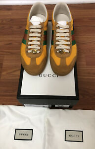 NEW IN BOX 100% AUTH GUCCI YELLOW SUEDE & NYLON CLASSIC WEB GG SZ G 8.5 US 9.5