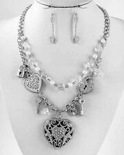NEW Bright Heart Silver Filigree Pendant & Heart Charms Crystals Necklace Set