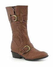 COGNAC KIOSK-10 Women Faux Leather Mid Calf Low Heel Boot Size 7.5