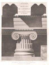 3 ~ Athens ACROPOLIS PROPYLAEA COLUMN ~ Old 1905 D'ESPOUY Architecture Art Print