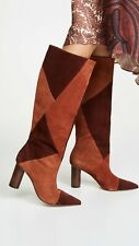 Ulla Johnson Jerri Boots Suede Combo Brown Burgundy Size 38 Leather Tall