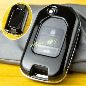 Black Car Hard Shell Flip Key Case Cover Trim For Honda Accord Civic CRV Odyssey