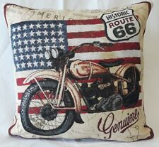 "Route 66 motorcycle  cushion cover  uk made 17""x17"