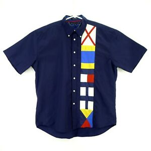 Tommy Hilfiger Nautical Sailboat Racing Button Up Shirt Size XL Graphic Spellout