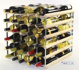 Double Profondeur 60 Bouteille Pin Bois et Métal Rack Vin Prêt à Utiliser