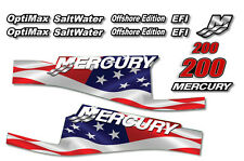 USA MADE Mercury 200 Sticker Decals Outboard Engine Graphic Kit EFI Sticker FLAG
