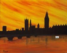 Art Print of Acrylic Painting by Dave. Abstract. Cityscape. Skyline London