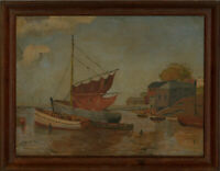 C. J Wright - Framed Mid 20th Century Oil, A Corner of Brixham Harbour